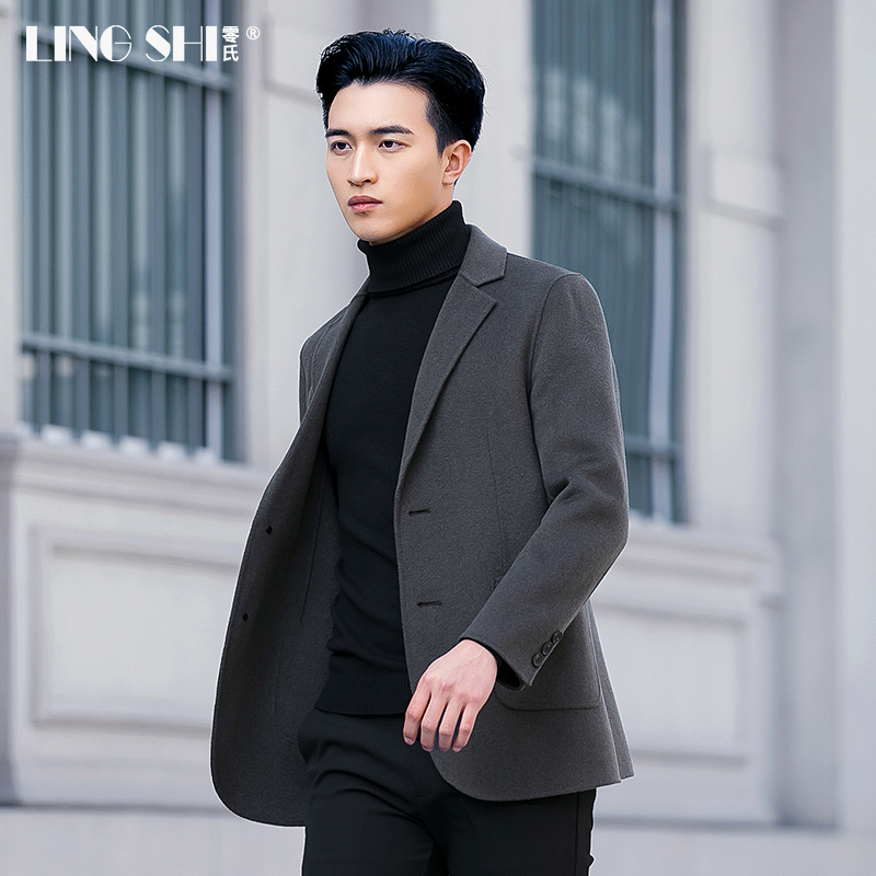 Autumn and winter double-sided coat men's wool short coat no cashmere Han plate Nissi body fashion suit top