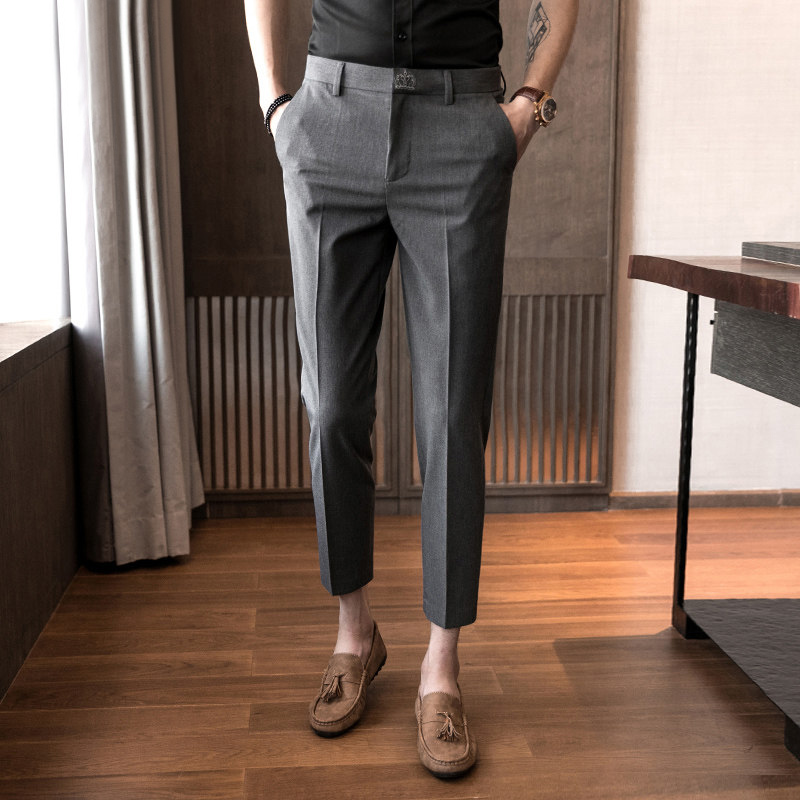 Summer nine-point pants men's pants youth pants Korean version trend slim short feet 9 points feel suit pants men