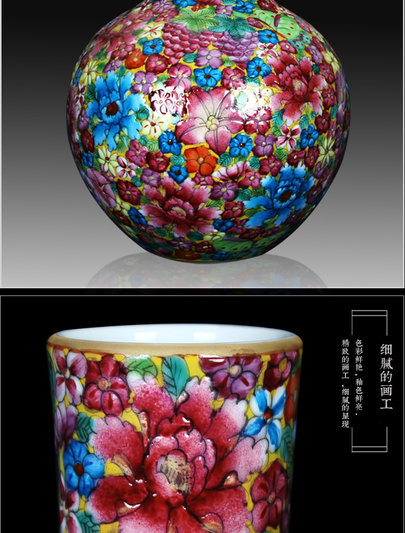 Jingdezhen porcelain vases, antique hand - made colored enamel flower vases, study on the celestial sphere small craft collection furnishing articles