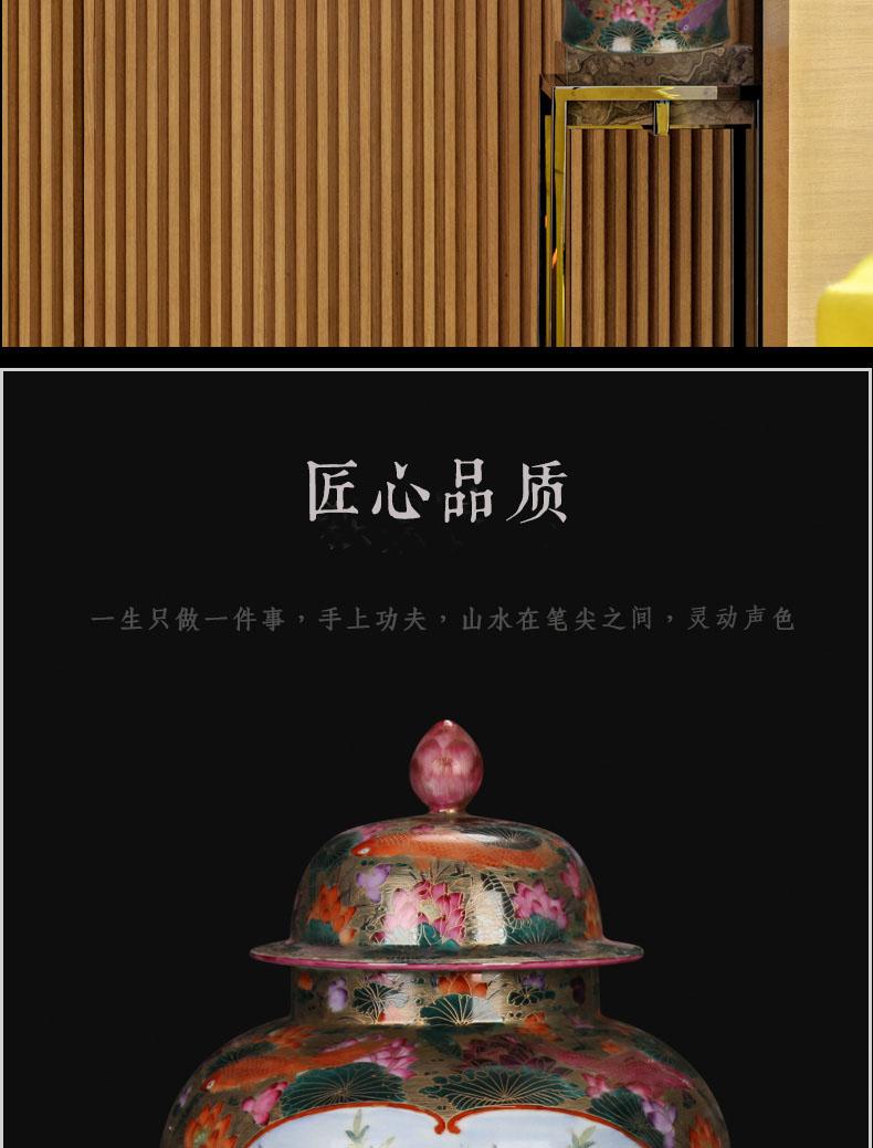 Jingdezhen ceramics hand - made silk inlay enamel Mosaic gold general flowers and birds fish tank furnishing articles vase study of sitting room decoration