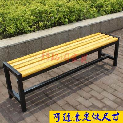 Steel-wood bench stainless steel bathroom bench dressing room bench solid wood bench shopping mall rest stool shoe changing stool