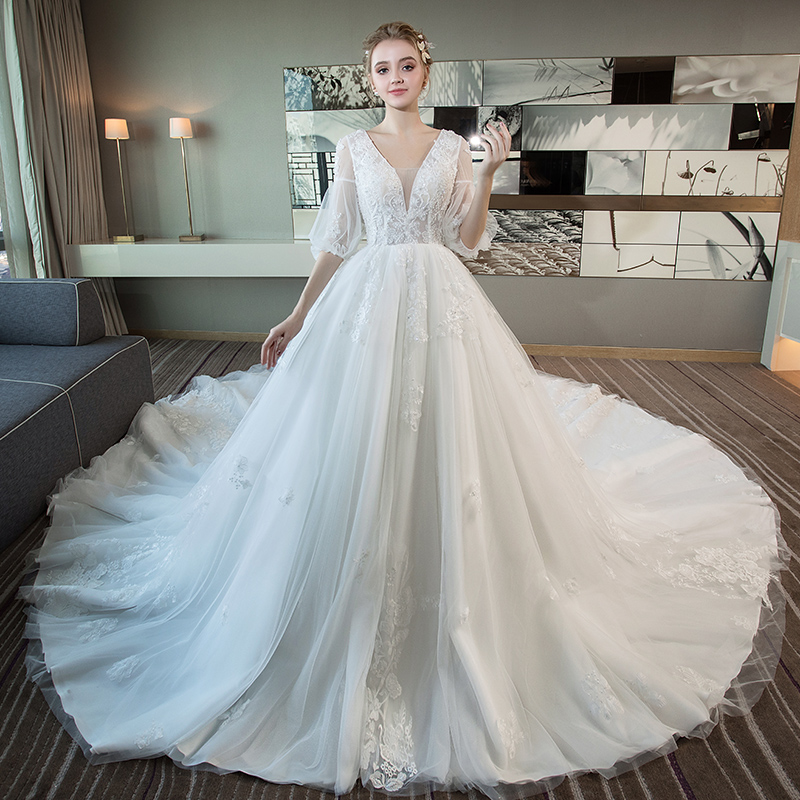 e2b8b58b139 Wedding dress 2019 New Sen Princess high waist pregnant women cover pregnant  belly large size was thin court word shoulder tail