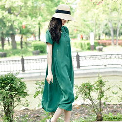 Cotton silk dress female summer 2021 new artificial cotton solid color short-sleeved mid-length temperament thin a-line dress