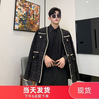 Autumn and winter new style small fragrance Korean men's loose plaid suit hair stylist youth trendy male suit casual jacket