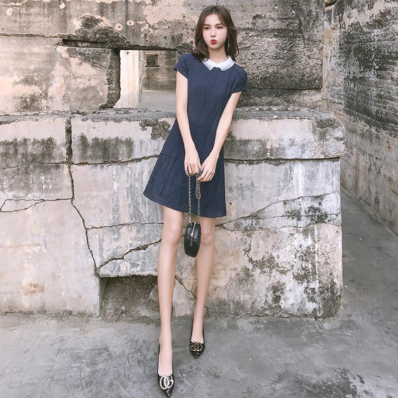 2019新款夏季女装短袖韩版气质连衣裙女时尚小清新中长款蓝色裙子