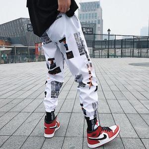 ins超火的裤子潮流运动裤男韩版休闲反光束脚裤hiphop嘻哈9分裤秋