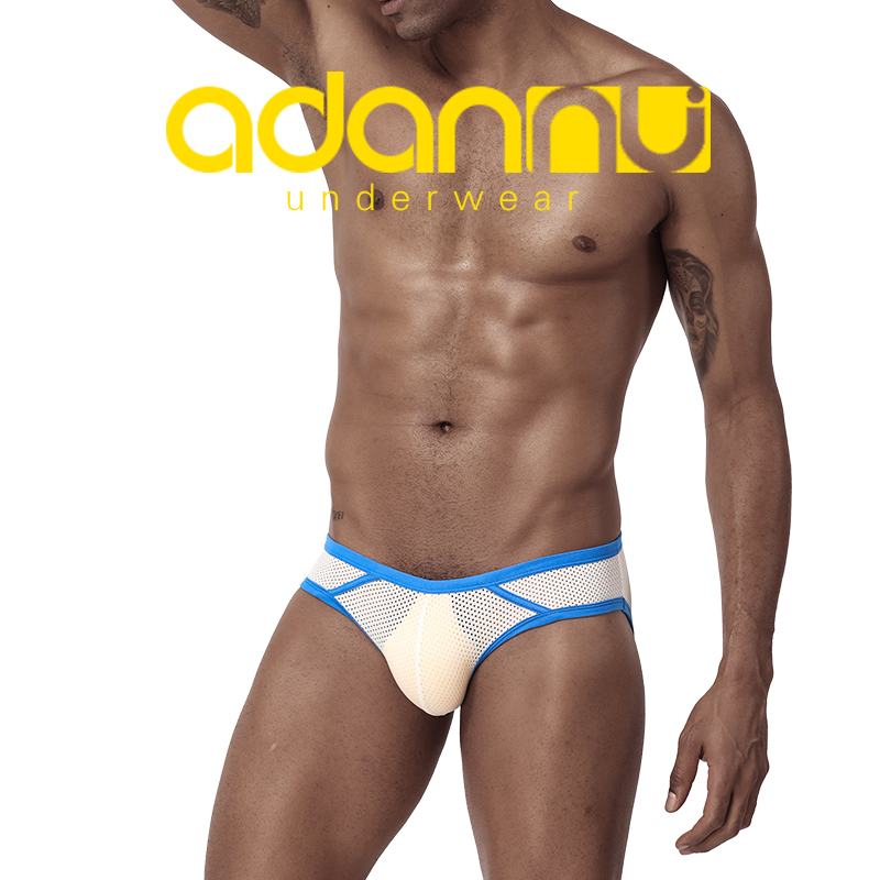 ADANNU men's triangle underpants mesh hole breathable low waist sexy young solid-colored U bump bag sexy bikini