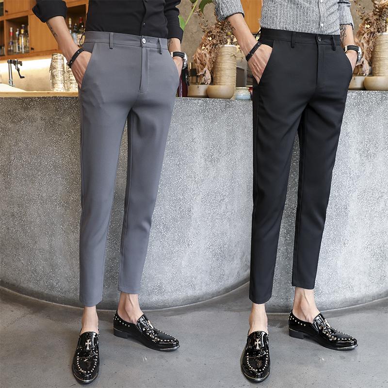 Mùa thu chín điểm quần âu nam Quần lửng đơn giản kinh doanh đơn giản chân đen quần chuyên nghiệp mặc hoang dã - Crop Jeans