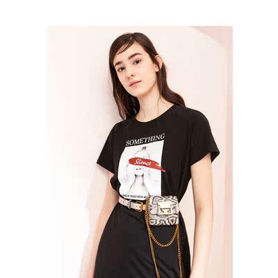 拉夏贝尔黑色休闲T恤连衣裙