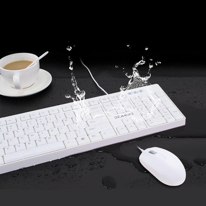 迪摩MK1900有线键盘鼠标套装办公用台式电脑USB普通标准键盘防水