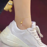 Gold anklet full gold 999 small star small crown small key small foot small slippers adjustable pearl anklet