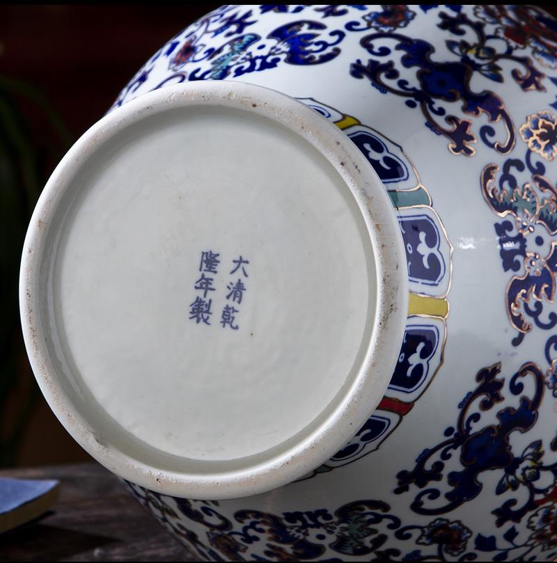 景德镇陶瓷手绘青花瓷大花瓶插花仿古中式客厅装饰品玄关瓷器摆件