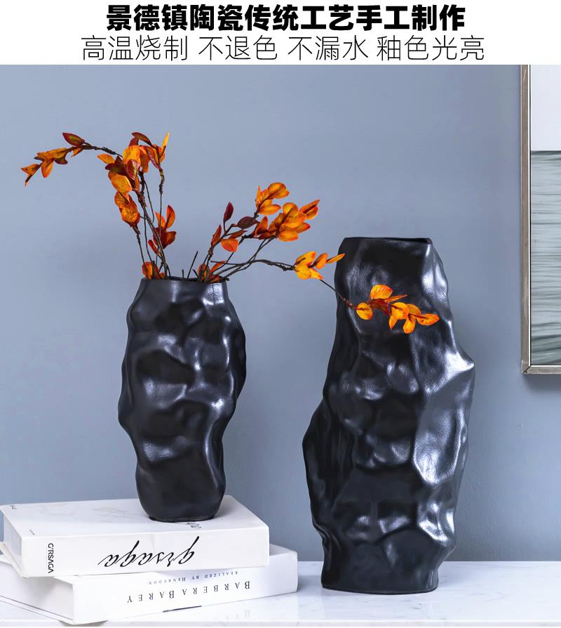 Aquamarine ceramic vase furnishing articles interelectrode creative contracted light black dry flower decoration flower arrangement sitting room key-2 luxury soft decoration