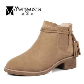梦语莎17秋冬新款短靴磨砂粗跟中跟