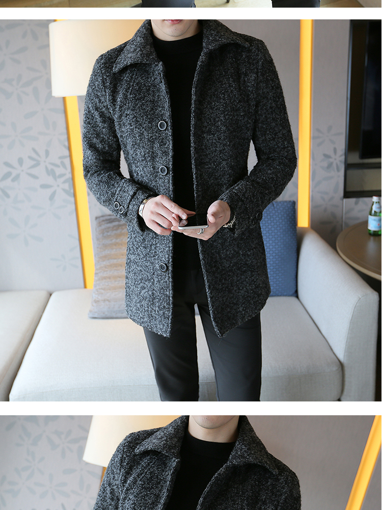 Autumn and winter men's long windshield men's Korean version of slim hair coat men's clothing son English coat tide 35 Online shopping Bangladesh