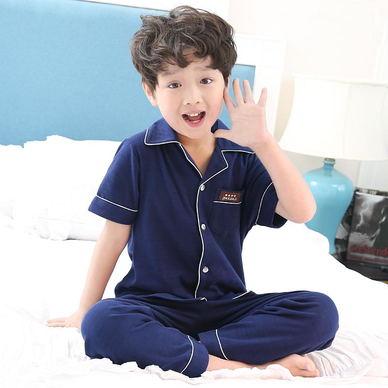 儿童睡衣夏男中大童男童睡衣夏季短袖纯棉薄款家居服男孩12-15岁