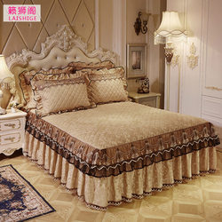 European style quilted lace bed skirt single piece velvet warmth thick bed cover single double winter Simmons bed cover 1.8m