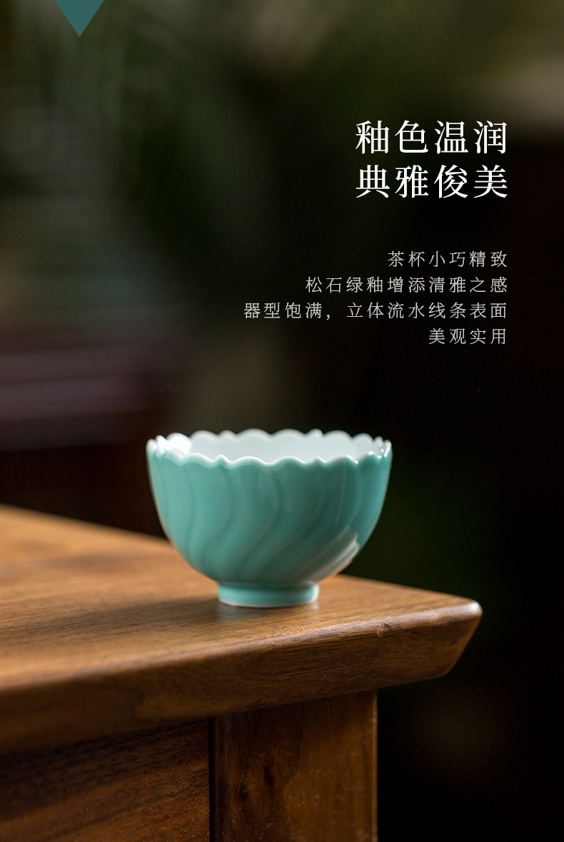 Ultimately responds to ceramic cups manual sample tea cup Japanese large master cup bowl household kung fu tea tea set, cup mat