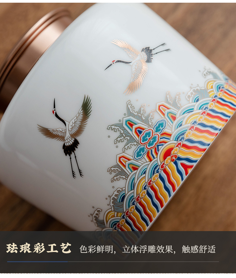 Ultimately responds to the tide of the wind home tea caddy fixings ceramics seal storage jar wake small tea POTS storage storehouse