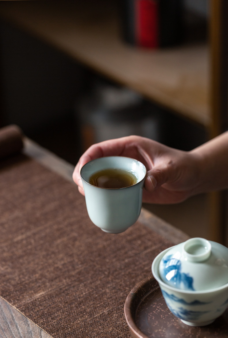 Ultimately responds to hand a cup of a single large ceramic up your up pressure sample tea cup household Japanese kung fu tea cup single master CPU