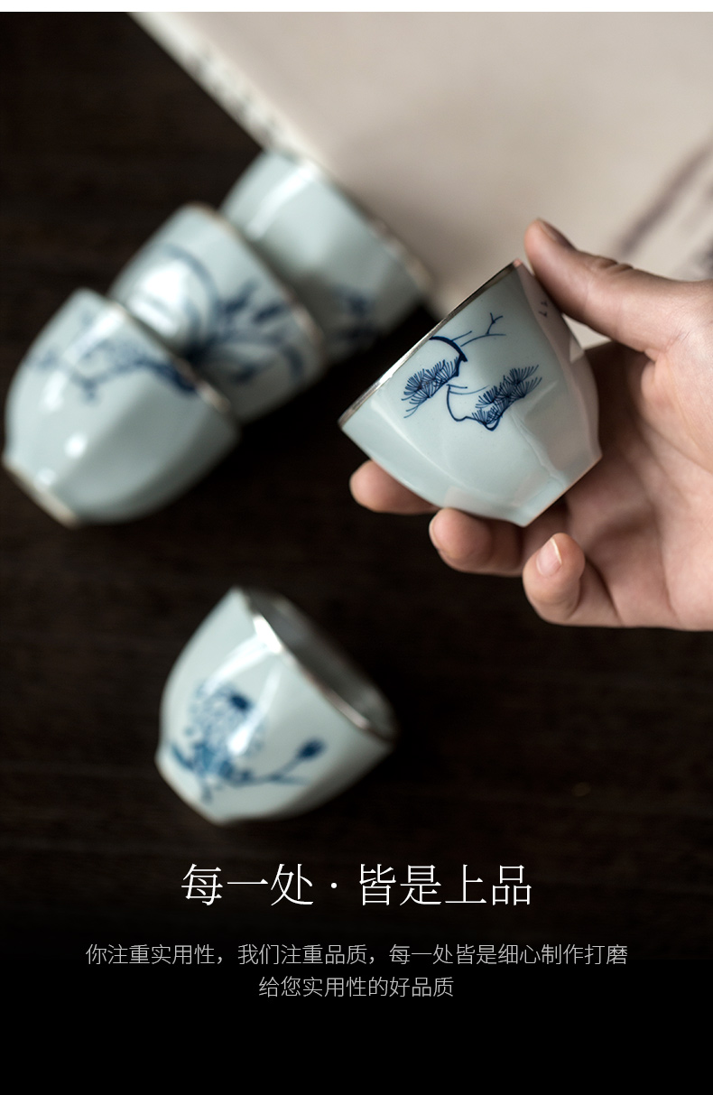 Ultimately responds to trace silver kung fu tea cups coppering. As the master CPU single CPU hand - made ceramic sample tea cup single tea cups