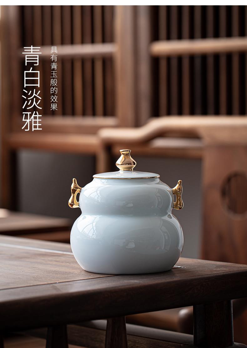 Ultimately responds to fu lu tea pot ceramic tea warehouse creative storage POTS with retro household large seal storage tank