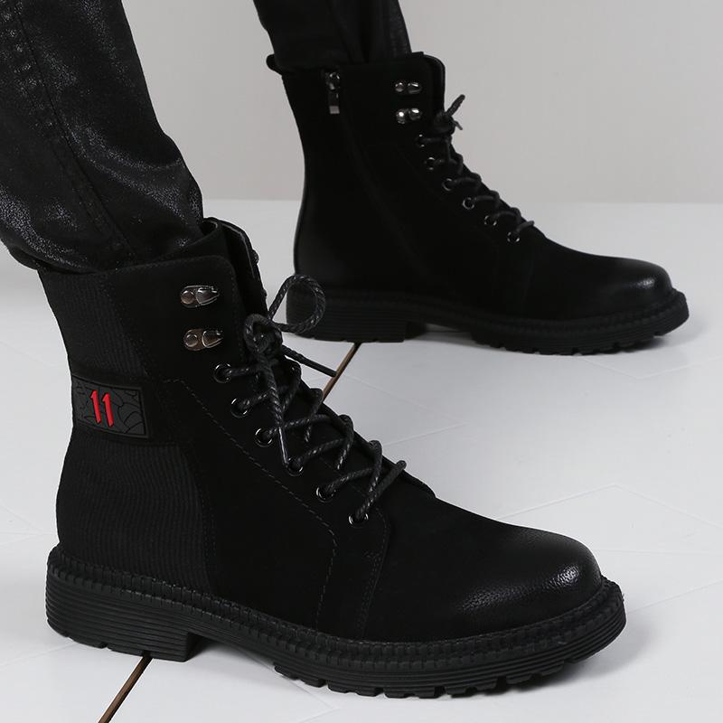 靴子男高帮韩版内增高6cm皮靴男系带中筒休闲时尚发型师工装靴潮