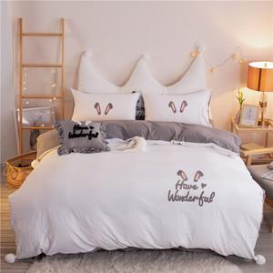 网红款水洗棉四件套纯色超柔棉裸睡刺绣小仙女ins民宿床单被套1.8