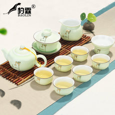Baolin Longquan celadon kungfu tea set household simple modern teapot Jingdezhen tea art living room