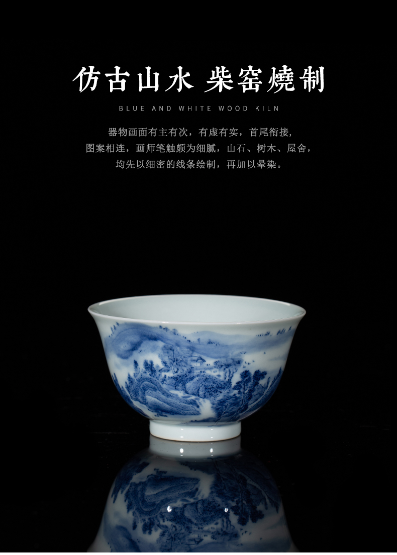 Clock home up ceramic cups jingdezhen blue and white maintain pure hand draw some landscape master high - end glass cup single CPU