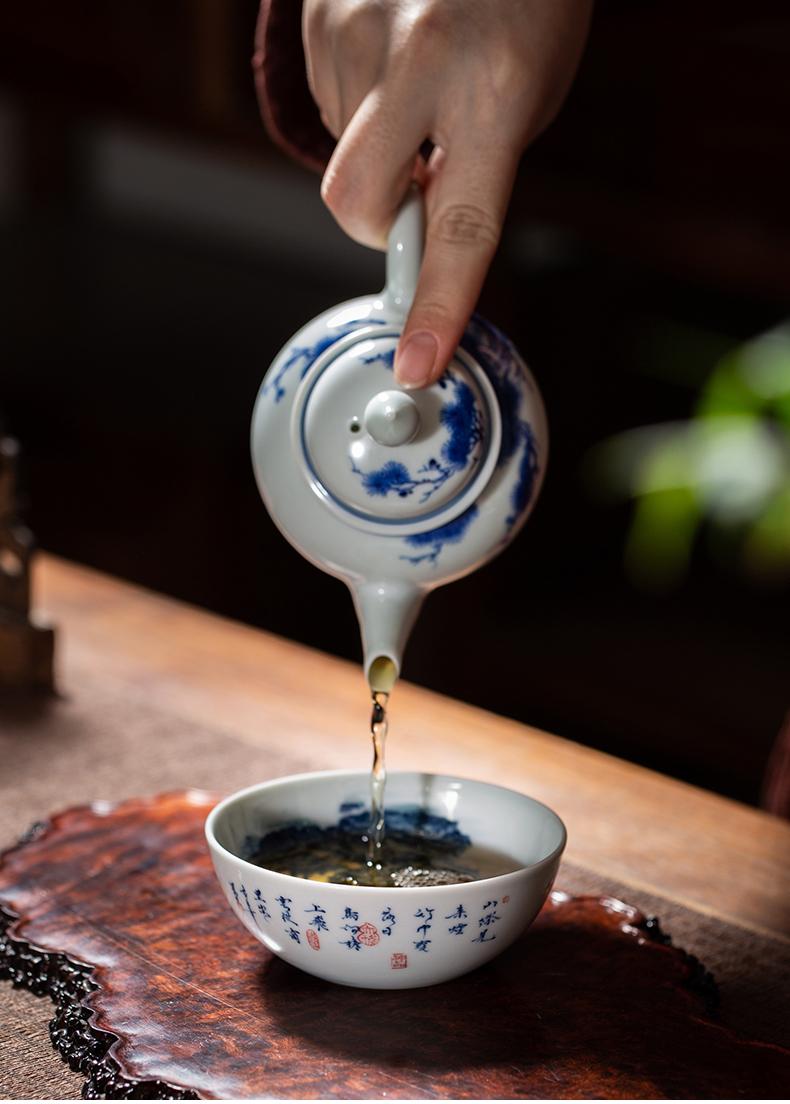 Clock home trade, one cup of single CPU jingdezhen ceramic cups porcelain maintain triangle flowers pattern circle landscape kunfu tea sample tea cup