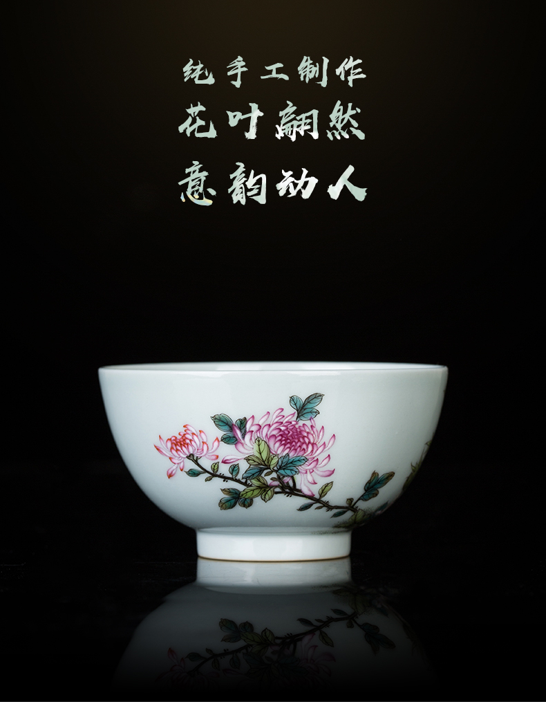 Clock home jingdezhen up market metrix cup cup personal special high - grade hand - made enamel CaiTuan bamboo by stone, ceramic cups