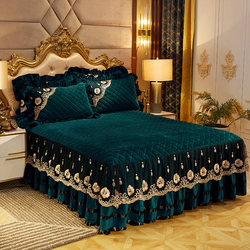 European style crystal velvet thickened bedspread bed skirt-style single three-piece short plush non-slip lace bed cover bed apron cover