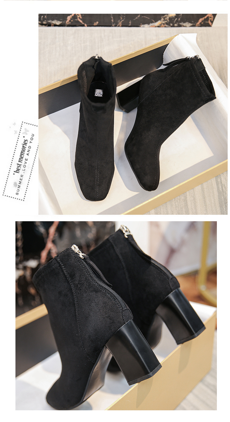 High-heeled small boots women's 2020 new thick-heeled velvet plus velvet thin Martin autumn and winter cotton shoes 60 Online shopping Bangladesh