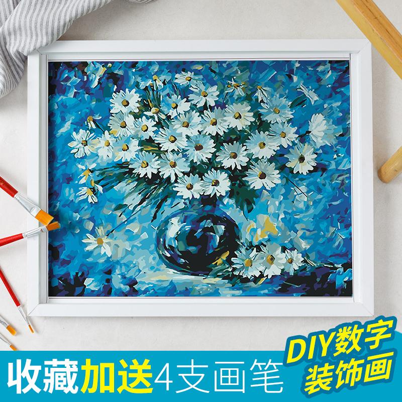 diy数字油画风景现代创意人物手绘数码油彩画客厅定制填色装饰画