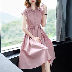 2019春夏新款藕粉色短袖連衣裙氣質中長款襯衫裙子