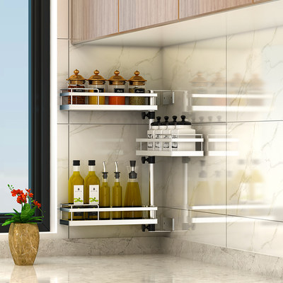 Kitchen rack 304 stainless steel wall exemption wall hanging angle smell storage shelf seasoning supplies