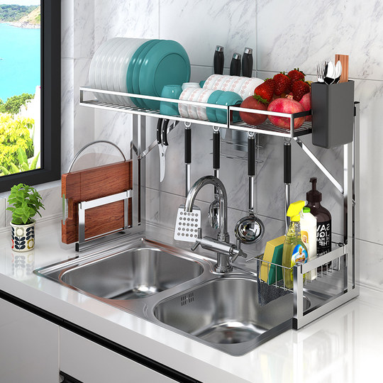 Stainless steel kitchen rack bowl home sink tops tops tops, water, dishwash, disappointment, chopsticks storage