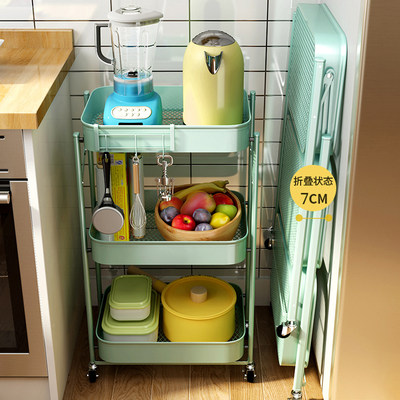 Free installation of removable trolley kitchen rack flooring bathroom folding home baby house storage shelf
