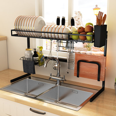 Kitchen rack sink top grashey box dish supplies home Daquan filter tableware stainless steel storage rack