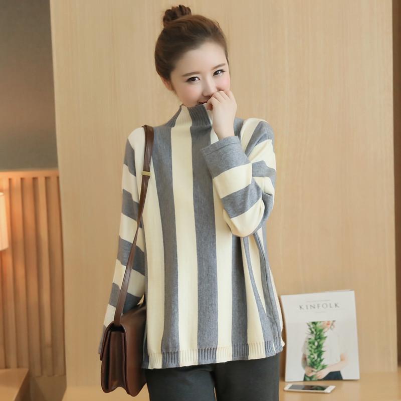 冬季新品韩版女装套头半高领竖条宽松蝙蝠袖针织衫外套女士毛衣