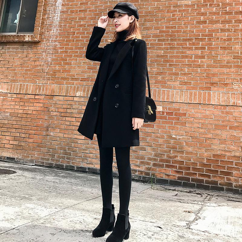 赫本风毛呢外套女加棉加厚中长款呢子大衣