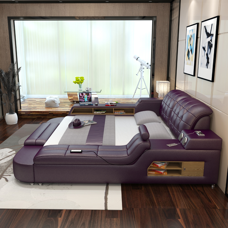 Usd Leather Bed Tatami Leather Bed Modern Minimalist Master Bedroom 1 8 Meters Bed