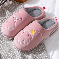 2020 new cotton slippers ladies home couple cute cartoon cotton shoes non-slip indoor slippers female autumn and winter