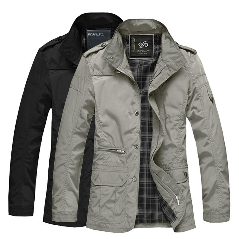 秋季中年薄款男士胖子加肥加大码男装棉衣中长款宽松v男士夹克外套