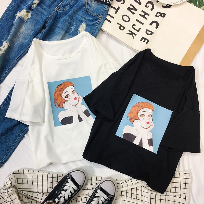 夏装2018新款开学生季短袖女宽松韩版ulzzang百搭白色纯棉t恤上衣