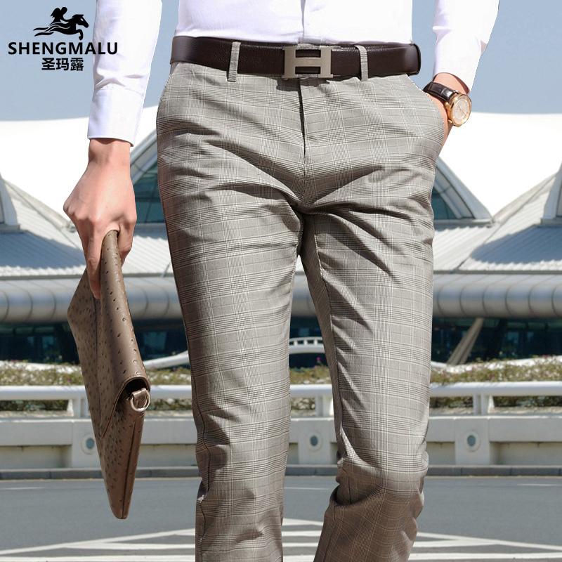 Quần kẻ sọc giản dị nam quần mỏng Hàn Quốc chân thẳng nam quần trẻ Hàn Quốc mùa xuân và quần mùa hè - 3/4 Jeans