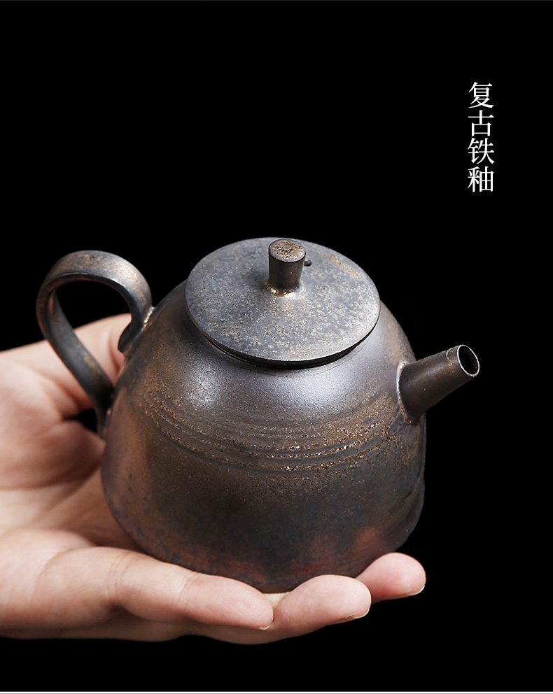 Blunt ceramic teapot household single pot of Chinese style restoring ancient ways is pure manual small office archaize coarse pottery pot teapot