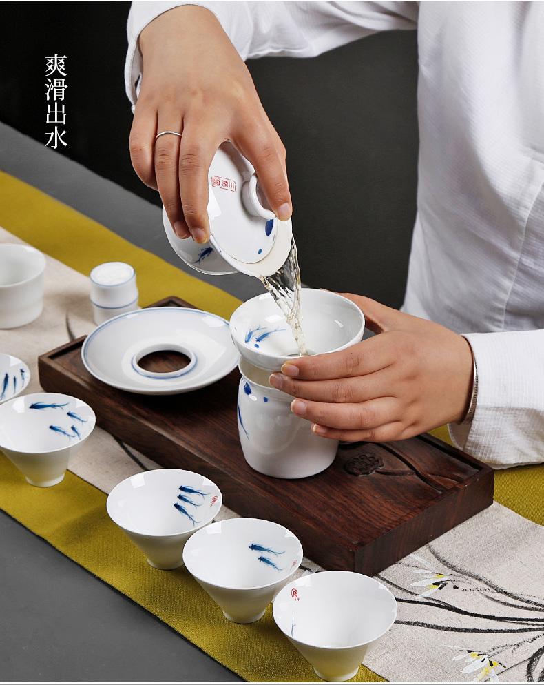 White porcelain hand - made tureen large tea bowl hand grasp at ceramic cups domestic individual operators to make tea bowl of fish