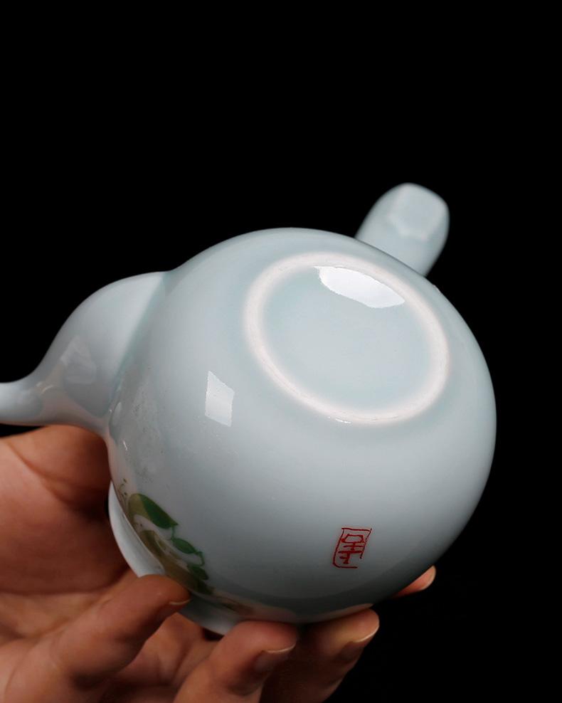 Celadon long handle side single pot of ceramic single pot of kung fu teapot contracted lotus tea home ms teapot
